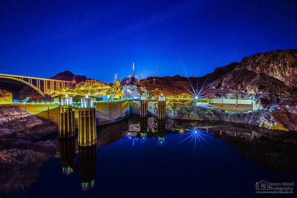 """Dam Glow,"" Reflections on Lake Mead and Hoover Dam, Lake Mead National Recreation Area, Nevada and Arizona"