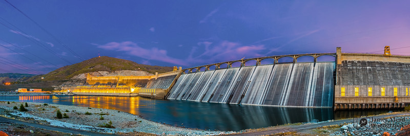 """Industry Meets Nature,"" Grand Coulee Dam at Dusk, Coulee Dam, Washington"