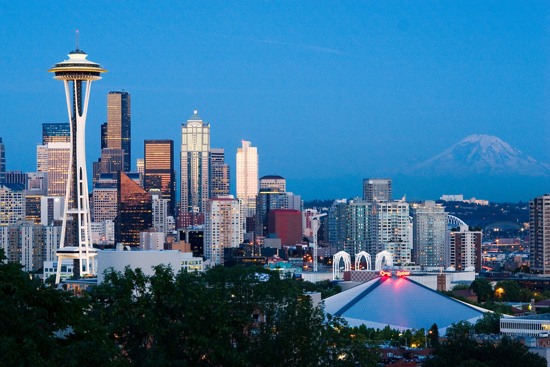 Space Needle, Seattle Skyline, and Mt. Rainier from Queen Anne Hill - Seattle, Washington