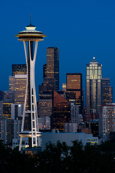 Space Needle and Seattle Skyline in Twilight - Seattle, Washington