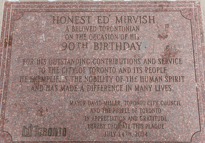 Honest Ed's Plaque In Sidewalk