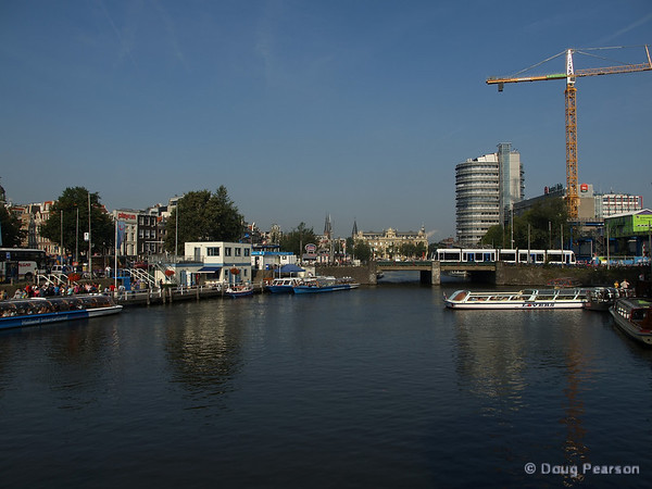 A view of some of Amsterdam's canal boat terminals
