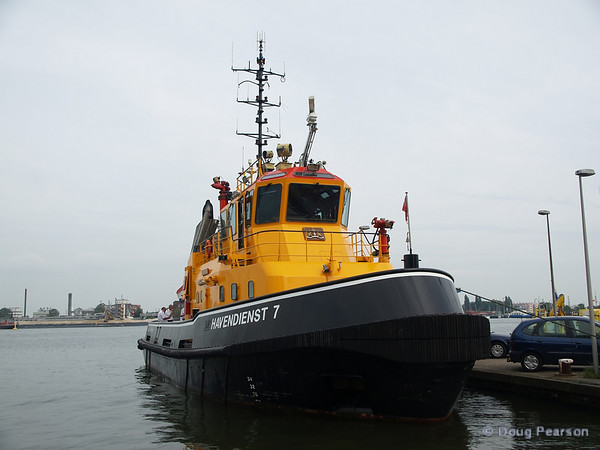 The Havendienst 7, one of Amsterdam's fire boats, docked in Amsterdam Harbor