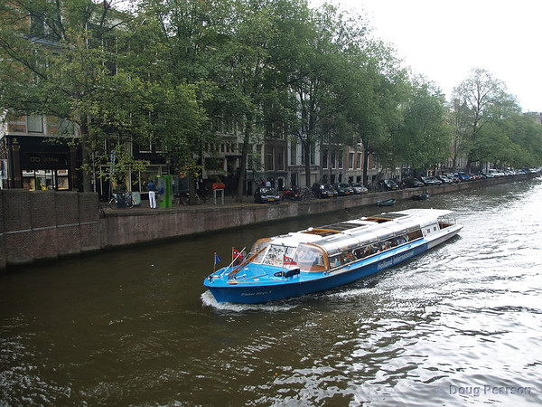 A canal boat in Amsterdam