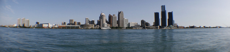 Detroit Skyline as seen from Windsor<br /> As seen through a fisheye lens