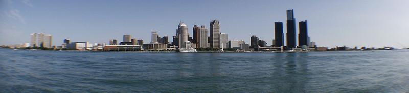 Detroit Skyline as seen from Windsor<br /> As seen through a fisheye lens
