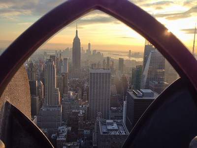 Framed view - Empire State Building and Downtown Manhattan