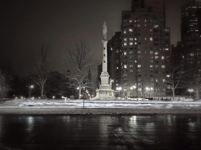 Columbus Circle as darkness falls