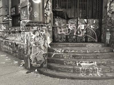 190 Bowery Graffiti - BW