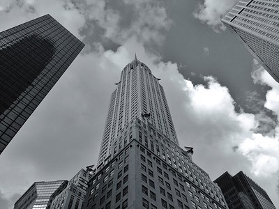Looking Up at the Chrysler Building - BW