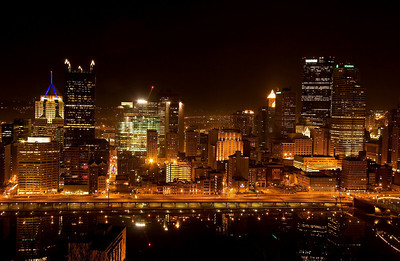 Golden Glow Of the lights of Pittsburgh, downtown