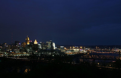 Blue night sky,Cincinnati Downtown