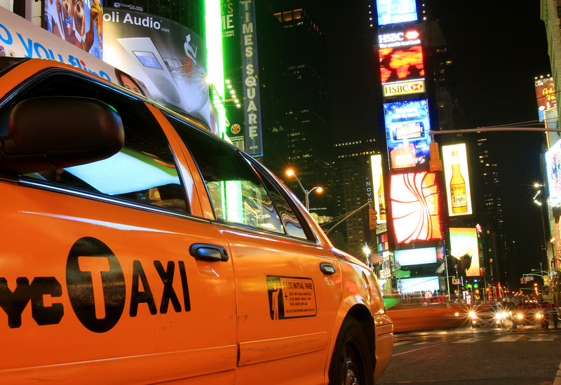 Cab in Times Square