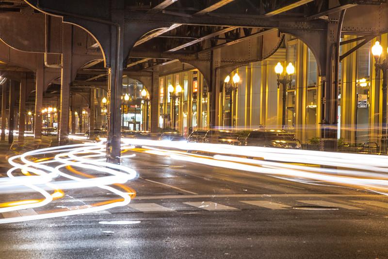 Under the EL in Chicago Car Lights
