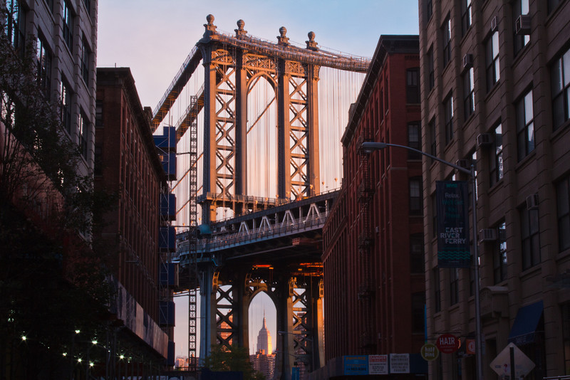 Manhattan Bridge and Empire State Building from Brooklyn