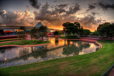Epcot Center - Walt Disney World - Sunset in Imagination Gardens