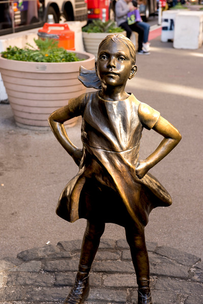 """Fearless Girl"" in front of the Wall Street Bull!"