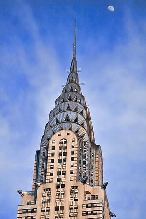 Chrysler Bldg n Moon NYC