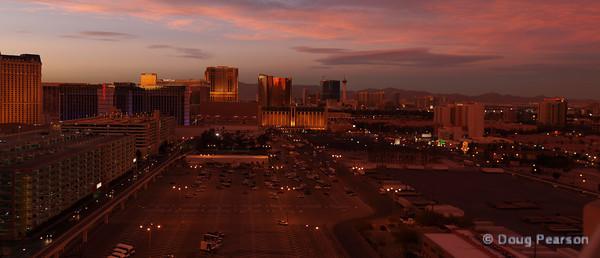 Las Vegas Skyline East of Strip at Dusk, Jan 2012
