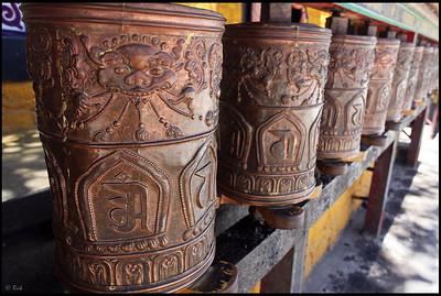 Prayer Wheels at the foot of Potala Palace