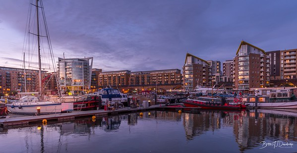 Evening glow over Limehouse Marina