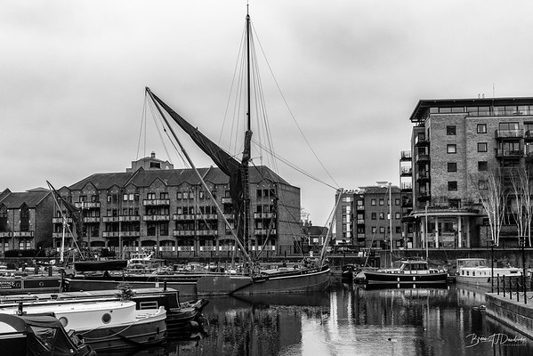 A classic sailing-barge in Limehouse Marina