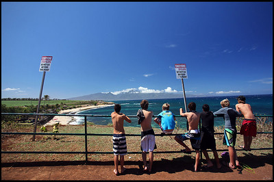 Local kids gathering on beach  Maui, Hawaii