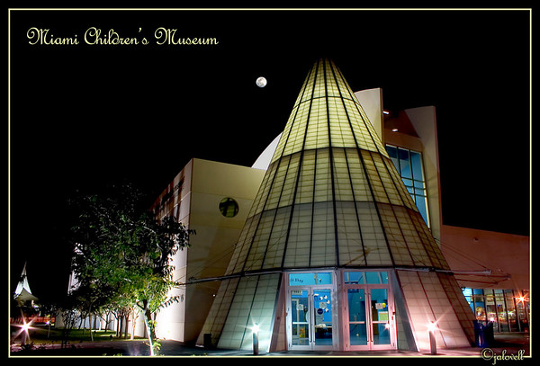 The Miami Children's Museum sits on Watson Island on Government Cut across from Dodge Island.  The pastel colors and the softly illuminated tee pee structure were beautiful in the Miami night.