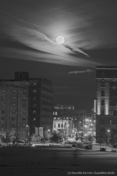 Moon over Freshwater Way (Pittsburg Street)