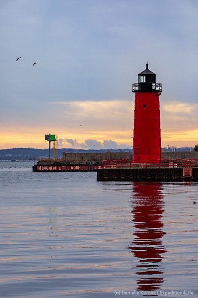 Lighthouse with Early morning colors in the Sky