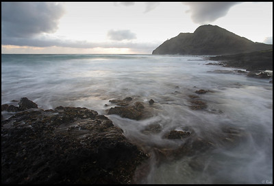 Sunrise, Makapuu Lighthouse from Makapuu Beach, Oahu, Hawaii