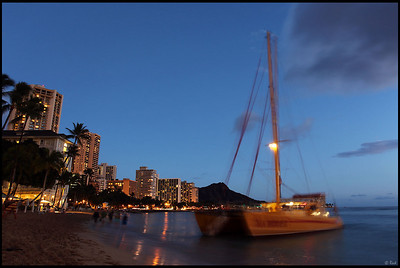 Early Evening on Waikiki Beach, Oahu, Hawaii