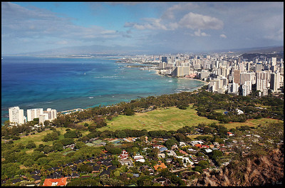 Waikiki Beach and Honolulu Downtown, Viewed from Diamond Head Crater, Oahu, Hawaii