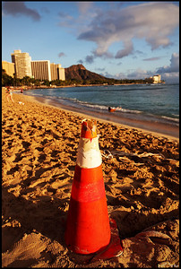 Waikiki Beach and Diamond Head Crater, Sunset, Oahu, Hawaii