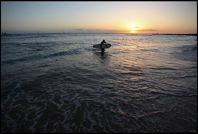 Surfer and Sunset, Waikiki Beach, Oahu