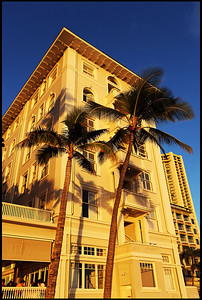 Hotels and Palm Trees on Waikiki Beach, Sunset, Oahu, Hawaii