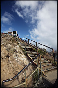 Stairs toward the Top of Diamond Head Crater, Oahu, Hawaii