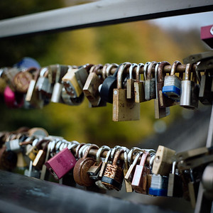 Commitment padlocks in autumn, on Corktown footbridge