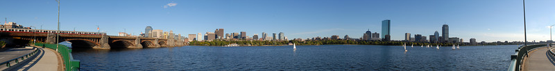 One of several attempts at a Boston skyline panorama near the Longfellow Bridge on the Cambridge side of the Charles.<br /> <br /> 16369 x 2108 Pixels (34.51 MPixels)<br /> <br /> Taken on 9/21/2006 @ 5:13PM.<br /> <br /> Nikkor 24mm f/2.8 lens<br /> f/11, 1/160 sec, ISO 100 exposure, Manual mode used throughout the pan.  Assembled in Photoshop using photomerge and layers.<br /> <br /> Assembled from 5 images.