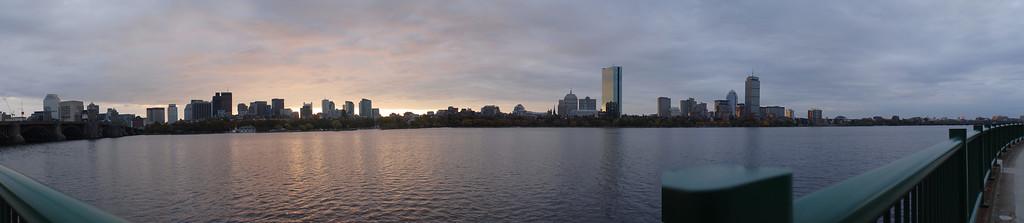 Autumn Morning on 10/24/2006 @ 7:38AM.  Lens: Nikkor 20mm f/2.8. 10853 x 2363 Pixels (25.65 MPixels) 1/45 sec., f/5.6, ISO 100.    Assembled from 4 images.