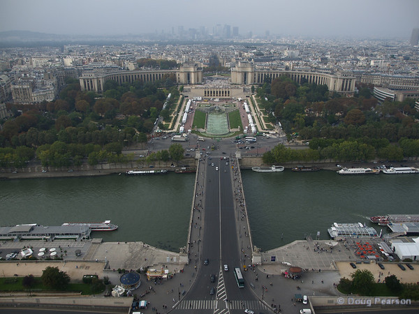Paris from on high.  looking across the Seine river from the Eiffel Tower