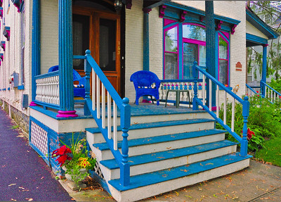 """Blue Wicker Porch, Saratoga Springs, NY."