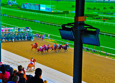 """""""And They're Off!,"""" Saratoga Race Course, Saratoga Springs, NY."""