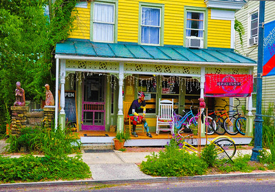 """Buddha & Bikes On Beekman Street,"" Saratoga Springs, NY."