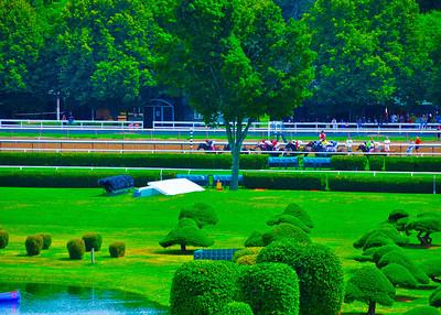 """On The Backstretch,"" Saratoga Race Course, Saratoga Springs, NY."