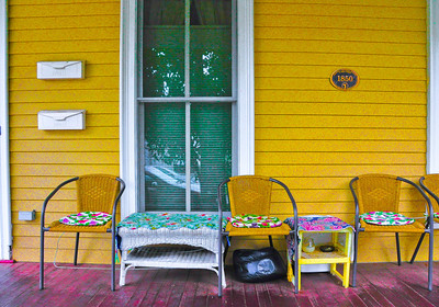 """Quilt Covered Porch,"" Saratoga Springs, NY."