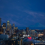 ~~ Dreamland ~~<br /> <br /> Mt Rainier with Space Needle and Seattle Skyline at dusk under clear sky<br /> <br /> Composite of ~40 shots where stars are stacked and result is stacked with image of Skyline!