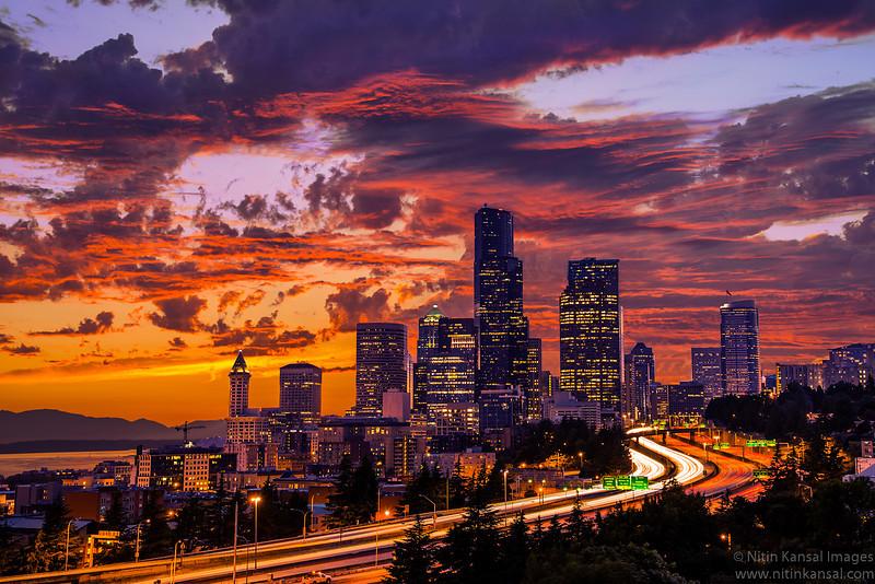 Seattle Sunset by ThatFunk on DeviantArt