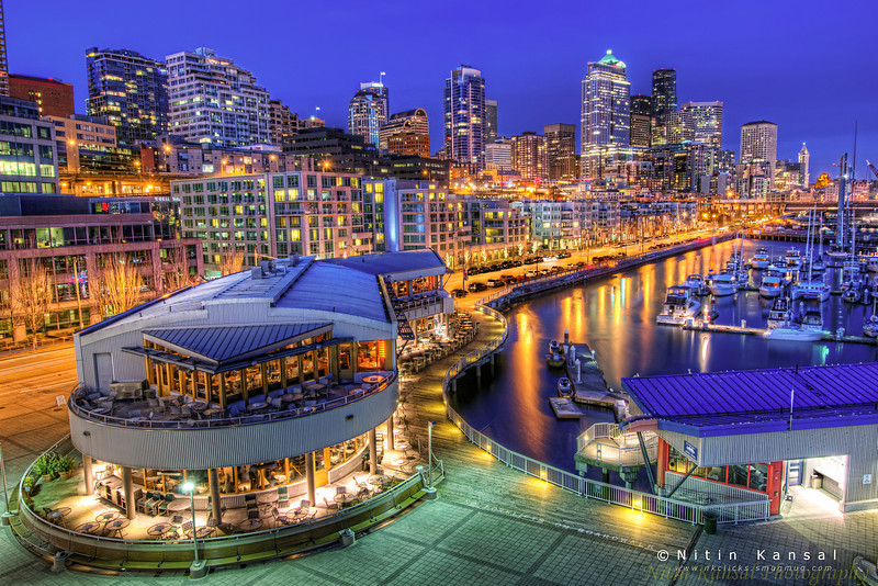 Seattle Downtown during blue hour from pier 66