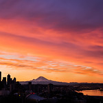 Kerry Park Sunrise with Mt Rainer and Elliott Bay